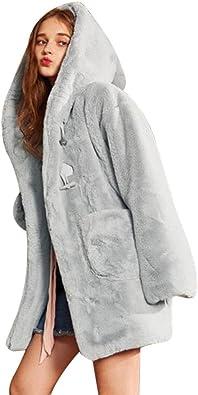 Longra Manteau à Capuchon Long Femmes Hiver Chaud Chic