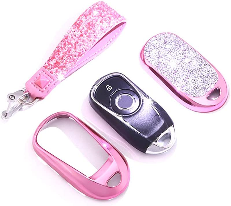 Soft TPU Key Fob Case Protector Holder for Buick 2019 2018 2017 2016 2015 Encore Envision Enclave Regal Verano Lacross GL8 Keyless Entry GEERUI Compatible with Buick Key Fob Cover Pink