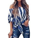🍒 Amlaiworld Blusa Mujer Elegante Sexy 2018 Camiseta de Mujer a Rayas con Hombros Descubiertos Camisetas Casuales de Manga Corta Tops Blusa de Corbata Blusas sin Tirantes de niña