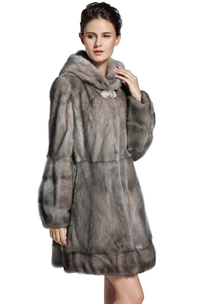 YR Lover Women's Mink Fur Long Coat Cape Poncho Shawl With Hooded False