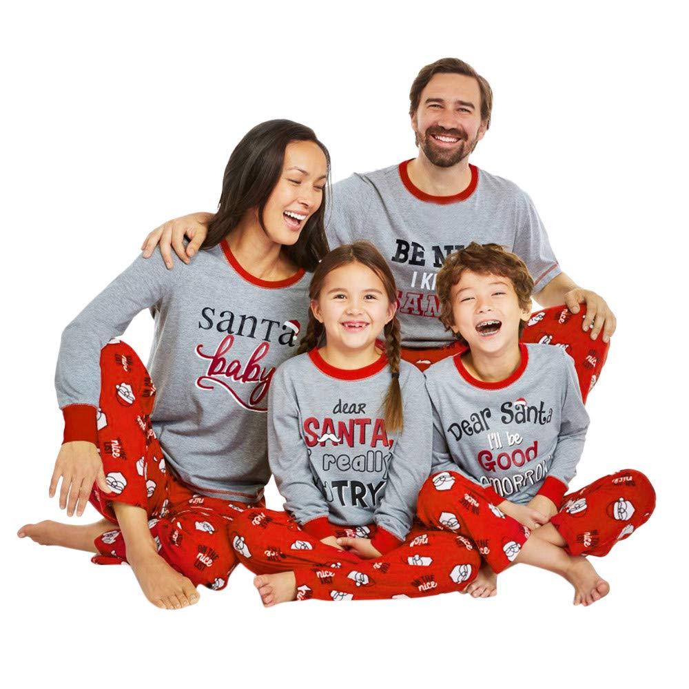 Gusspower Ropa Conjunto de Pijamas Familiares de Navidad para Familia Traje Mujer Hombre Niños Sudadera Manga Larga Impresión de Cartas + Pantalones: ...
