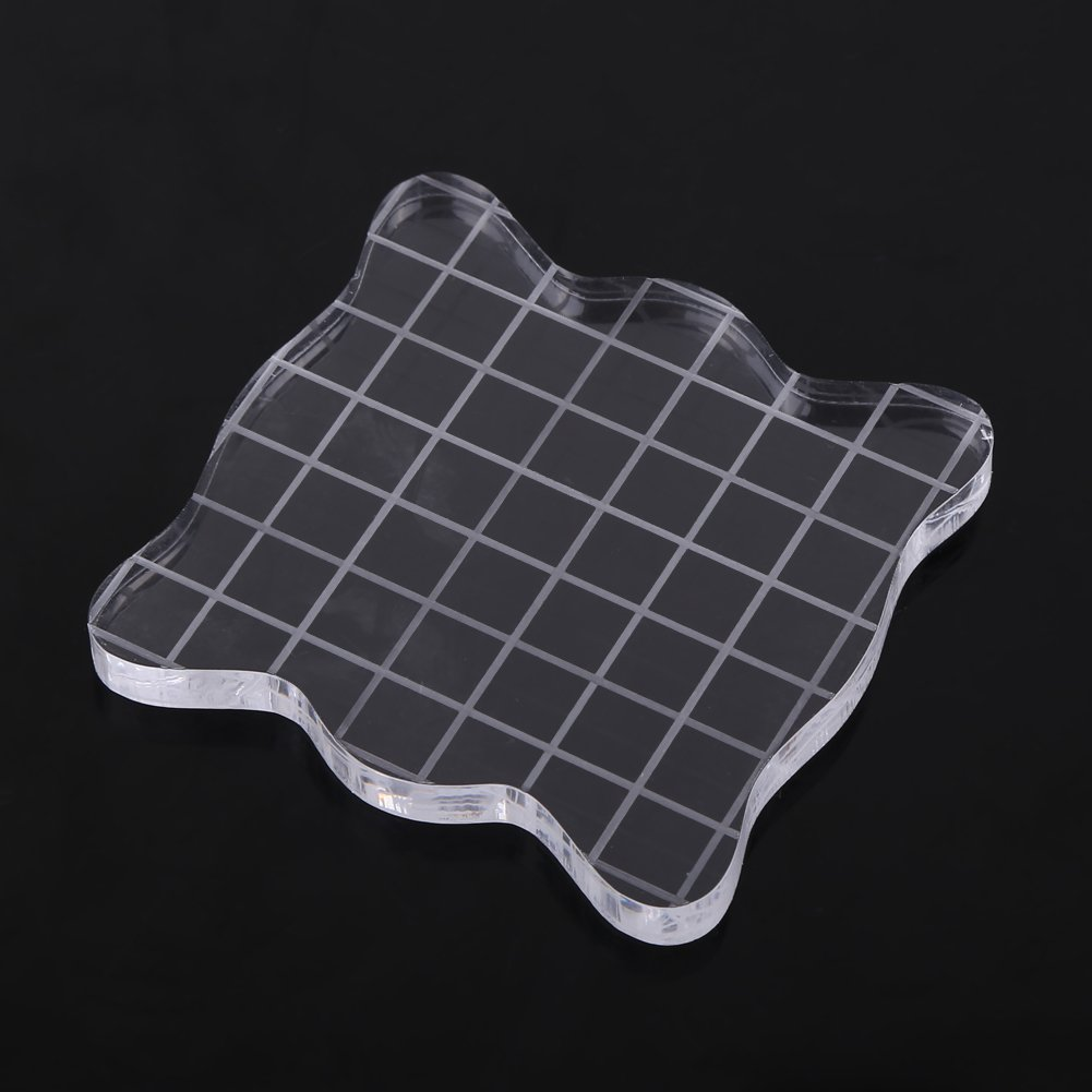 Hilitand 1PC Transparent Acrylic Stamp Blocks with Grid Lines 7.57.5cm Square with Curve Edges Essential Stamping Tools for Scrapbooking Crafts Making,1.97 x 1.97//2.95 x 2.95//3.93 x 3.93