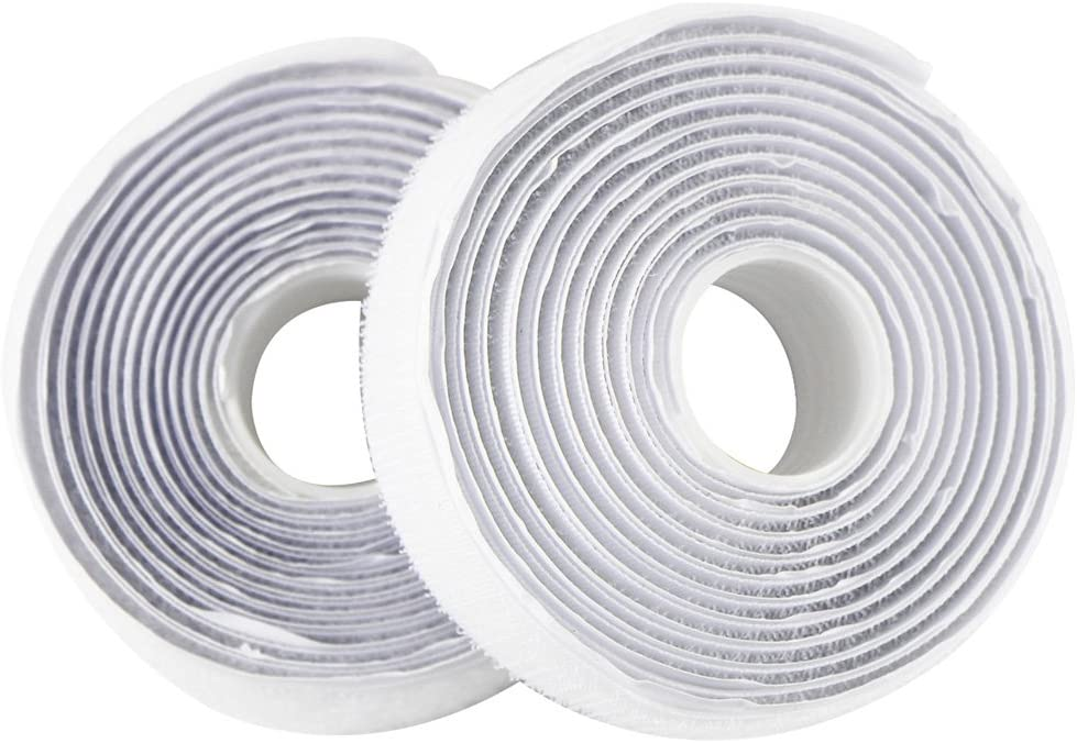 2 Metros, Blanco EDGEAM Cinta adhesiva Hook Loop Nylon Bandas autoadhesivo 20 mm ancho