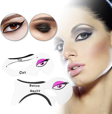 Hykis 2pcs/pack l¨¢piz de ojos sombra de ojos ahumados Tarjetas Plantillas Modelos plantilla de maquillaje reutilizable herramientas auxiliares: Amazon.es: Hogar