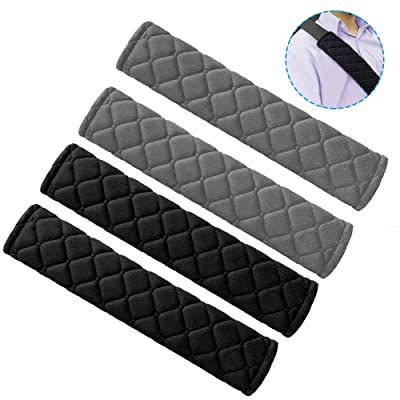 SENHAI 4 Pcs Seat Belt Pads, Plaid Cotton Soft and Comfortable Seatbelt Shoulder Strap Cover for Kids Adults - 2 Black and 2 Gray: Automotive