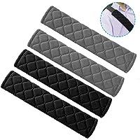 SENHAI 4 Pcs Seat Belt Pads, Plaid Cotton Soft and Comfortable Seatbelt Shoulder Strap Cover for Kids Adults - 2 Black…
