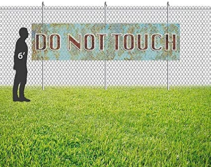 CGSignLab Do Not Touch 12x3 Ghost Aged Blue Wind-Resistant Outdoor Mesh Vinyl Banner