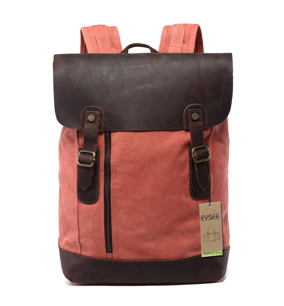 Eysee® Rucksack Damen und Herren Canvas mit Leder Vintage Unitasche Studententasche Schultasche Reisetasche (Mode 1 blau)