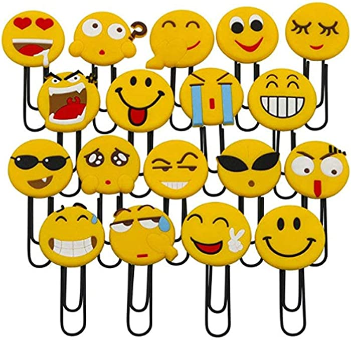 Joyci 10-Pack Emoji Paper Clips Cute Bookmark Funny Message Clip Novelty Emoticon Book Marker Office Supply Accessories
