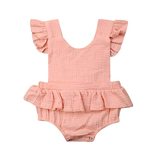 faec4f22d37 Yoawdats Newborn Baby Girl Romper Cotton Linen Bodysuits Ruffle Sleeve  Summer Jumpsuit Outfits Clothes (0