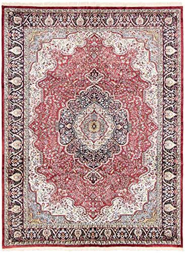 eCarpet Gallery Large Area Rug for Living Room, Bedroom | Hand-Knotted | Kashmir Bordered Red Rug 8'0