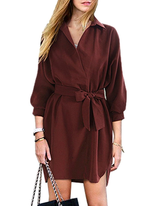 495a7cfea9ab77 reizend Tjhanhai Damen Frauen Frühling Herbst Winter Mantel Coat Dress  Kleider Wasserfall Schnitt Gürtel Locker 3