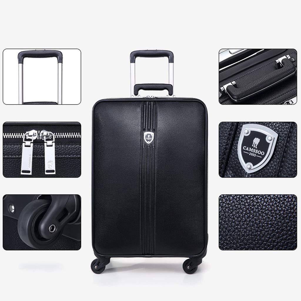トロリーケース- ユニバーサルホイール20インチ搭乗トロリーケース男性、16インチ女性スーツケースパスワードボックスソフトスーツケース (Color : Black, Size : 20in) B07VB1TX31 Black 20in