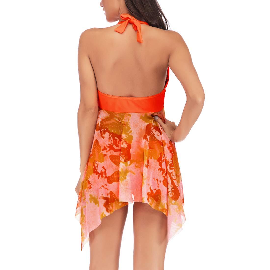 Belgius Women Halter V-Neck Tankini Set Floral Print Mesh Swimdress with Bottom