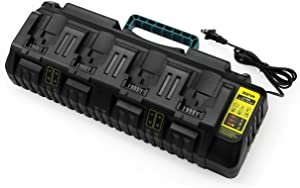 Replace DCB104 Charger Compatible with Dewalt 12V/Dewalt 20V Max 4-Port Li-Ion Fast Charger DCB102 DCB102BP DCB104 DCB118 DCB115 DCB107 DCB205-2 DCB204 DCB127 DCB609 Dewalt 20V Lithium Battery