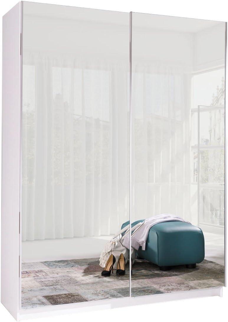 Ye Perfect Choice Wardrobe - Espejos de Puerta corredera para Armario Tenerife 6 DE Almacenamiento Moderno Dormitorio 150 cm, Madera, Blanco, Without Carrying Service: Amazon.es: Hogar
