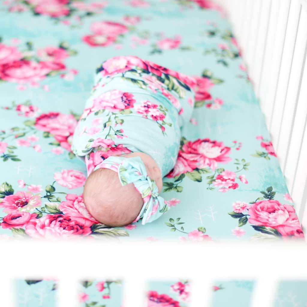 Posh Peanut Baby Swaddle Blanket - Large Premium Knit Baby Swaddling Receiving Blanket and Headband Set, Baby Shower Newborn Gift (Aqua Floral) by Posh Peanut