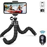 MAEXUS Camera Flexible Tripod, Phone Tripod with Bluetooth Remote and Universal Clip, 360° Adjustable Mini Travel Tripod Port