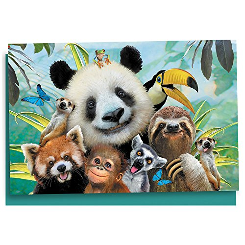 Tree-Free Greetings EcoNotes 12 Count Zoo Selfie All Occasion Notecard Set with Envelopes, 4 x 6 Inches (Tree Free Note Card)