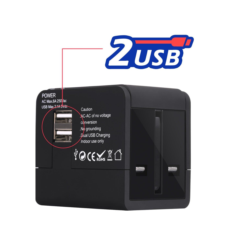 Cargador de Viaje Universal Luxebell Adaptador de Enchufe All-In-One Mundial Internacional con USB Dual Puerto (US EURO UK AUST): Amazon.es: Electrónica