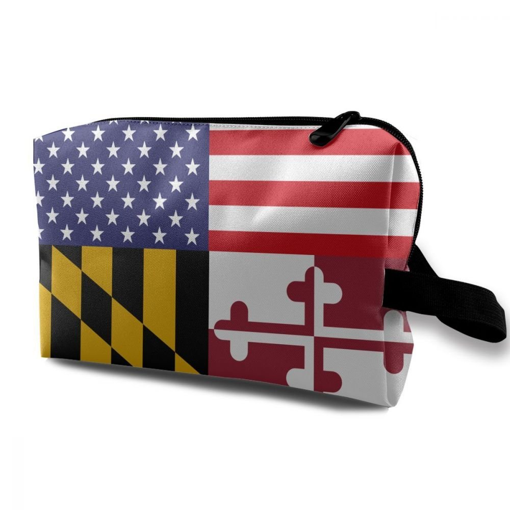 ZHIYANG Flag Of America And Maryland Novelty Potable Cosmetic Bags With Zipper For Travel Home Jewelry Pouch Storage Bags Makeup Bags