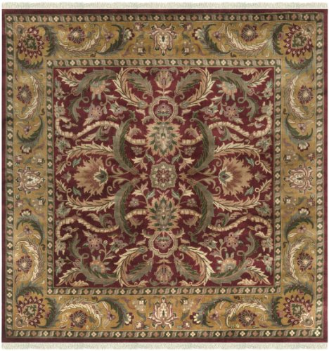 Surya Taj Mahal TJ-59 Traditional Hand Knotted 100% Semi-Worsted New Zealand Wool Burgundy 8' Square Persian Area Rug - Taj Mahal Olive Rug