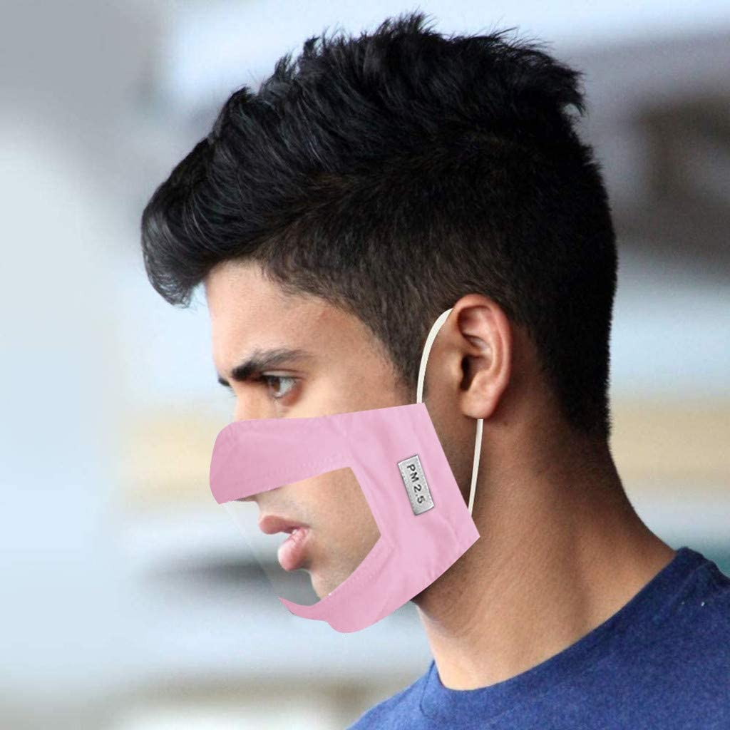 Face Bandanas for Anti Smoke Dust Dustproof Foggy Haze for Adult Reusable Face Mas Visible Expression for The Deaf and Hard Of Hearing 4pc Face Covering with Clear Window