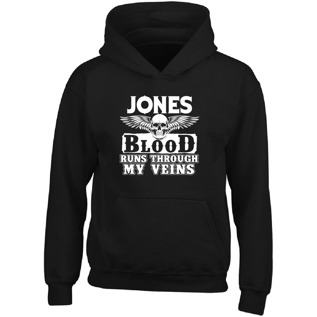 Jones Blood Runs Through My Veins Family Adult Hoodie L Black