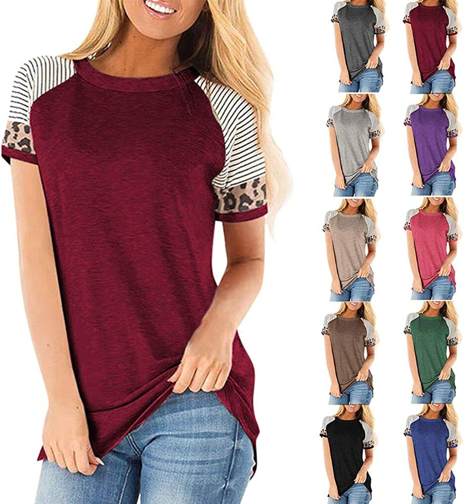 ZEFOTIM Women Short Sleeve Casual Comfy Leopard Stripe Tunics Loose Tops Blouse T Shirt