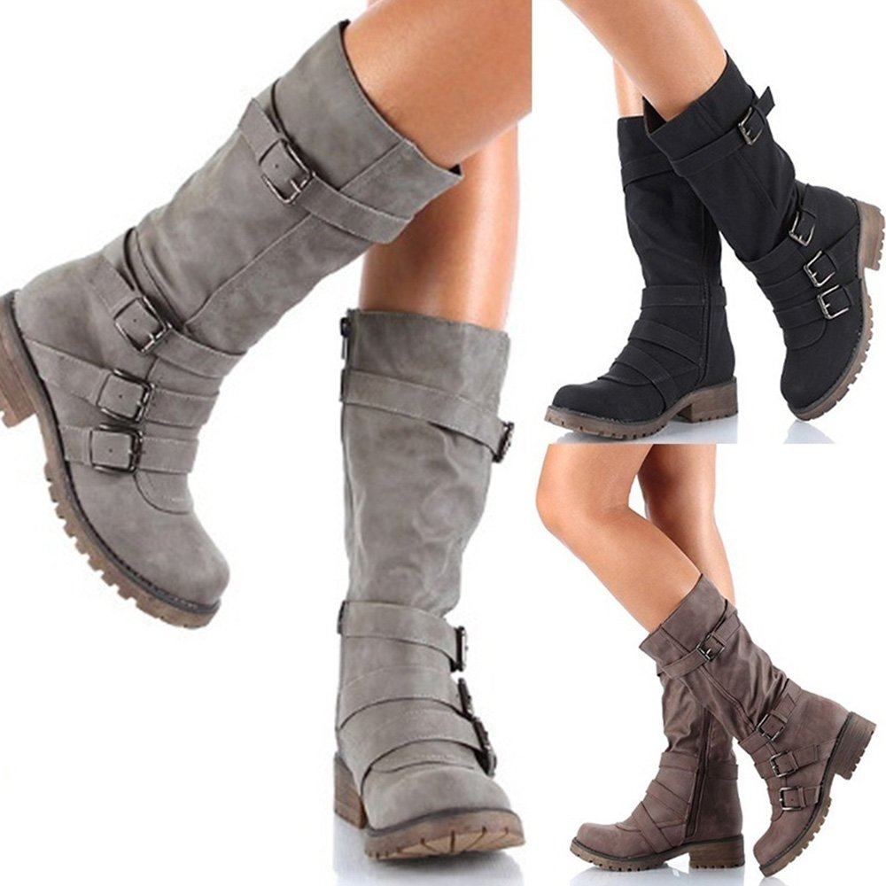 Rainlin Women's Mid-Calf Boots Suede Buckles Riding Boots Size 7.5 Grey by Rainlin (Image #7)