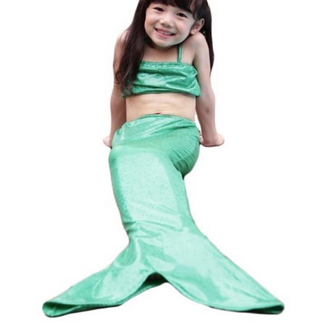 Girls 3pcs Swimmable Mermaid Tail Princess Bikini Bathing Wear Swimwear Swimsuit(size:4-5years Old) Neal LINK(TM)