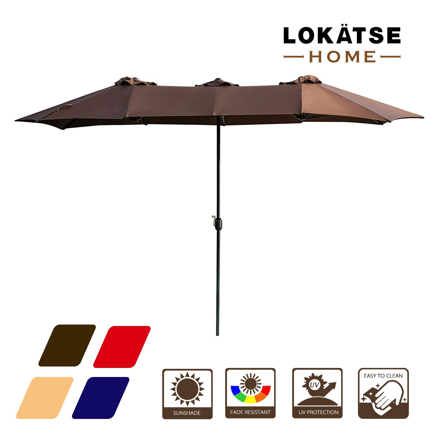 LOKATSE HOME 15 Ft Double Sided Outdoor Umbrella Rectangular Large with Crank for Patio Shade Outside Deck or Pool, Brown