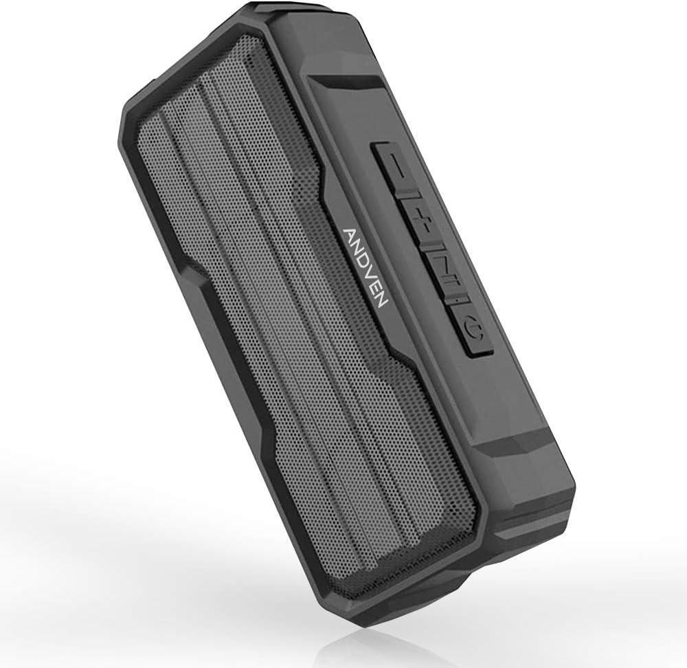 Andven Altavoz Bluetooth portátil 20W, 5.0 Altavoces Bluetooth, Altavoz portátil estéreo con TWS Funcion, Micrófono y Manos Libres, IPX6 Impermeable para el hogar, aire libre, viajes
