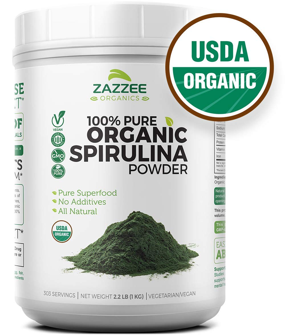 USDA Organic Spirulina Powder | 2.2 Pounds (1 KG) | 303 Servings | 100% Pure and Non-Irradiated | Vegan, All-Natural, and Non-GMO | Mess-Free Wide Mouth Container | Fresh Smell and Neutral Taste
