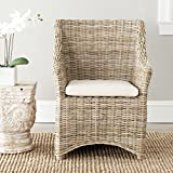 wicker dining room chairs Safavieh Home Collection Ventura Brown and White Washed Arm Chair