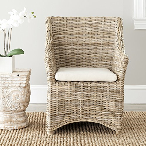 - Safavieh Home Collection Ventura Brown and White Washed Arm Chair