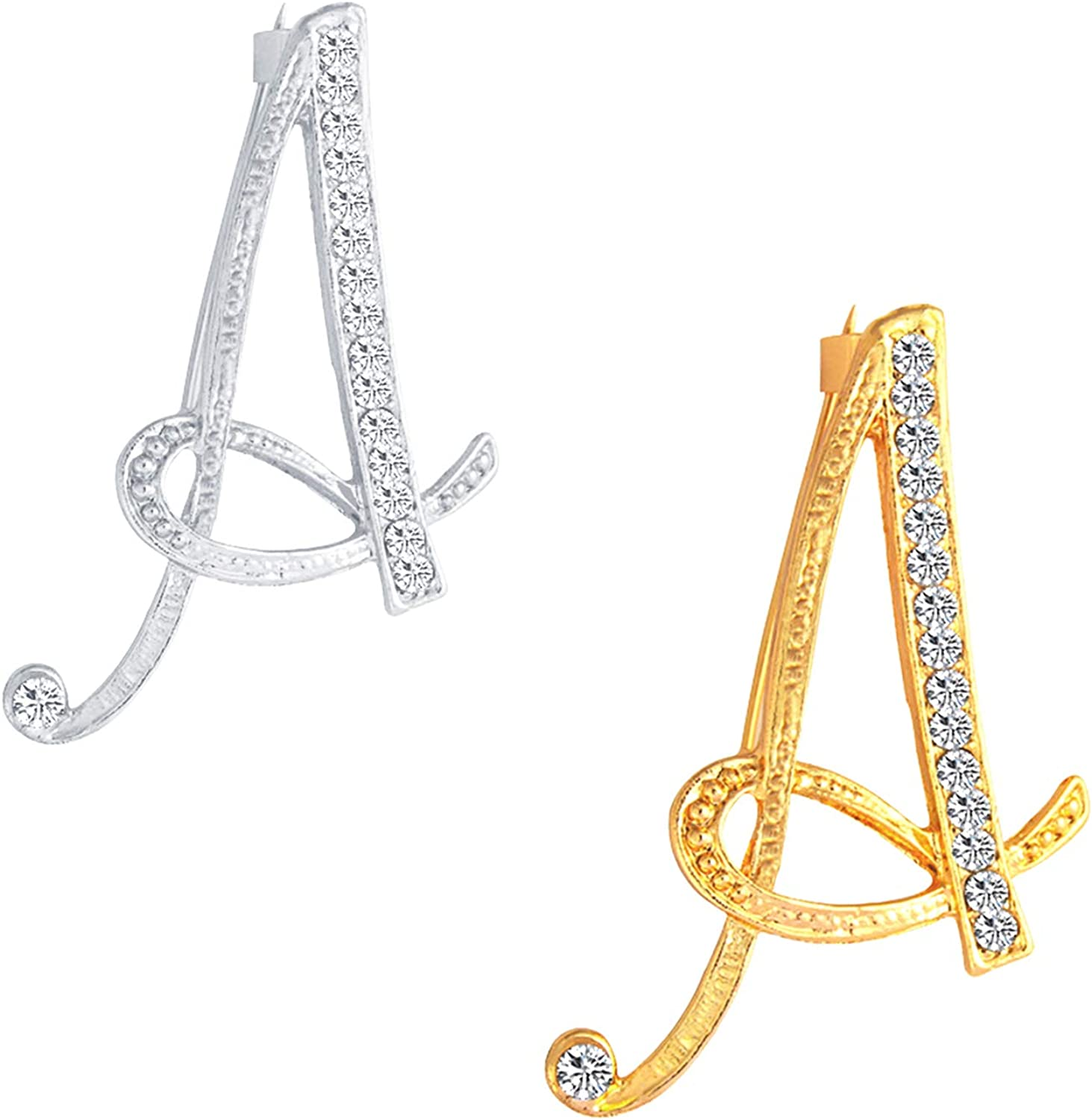 2Pcs Gold Plated Initial...