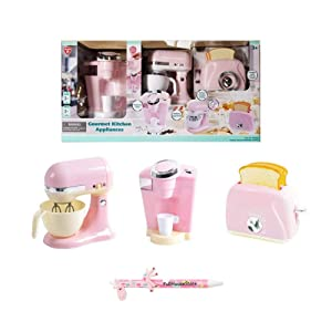 PlayGo Pretend Play Gourmet Kitchen Appliance Set - Single Serve Coffee Maker, Mixer & Toaster, 3 Piece (Pink)