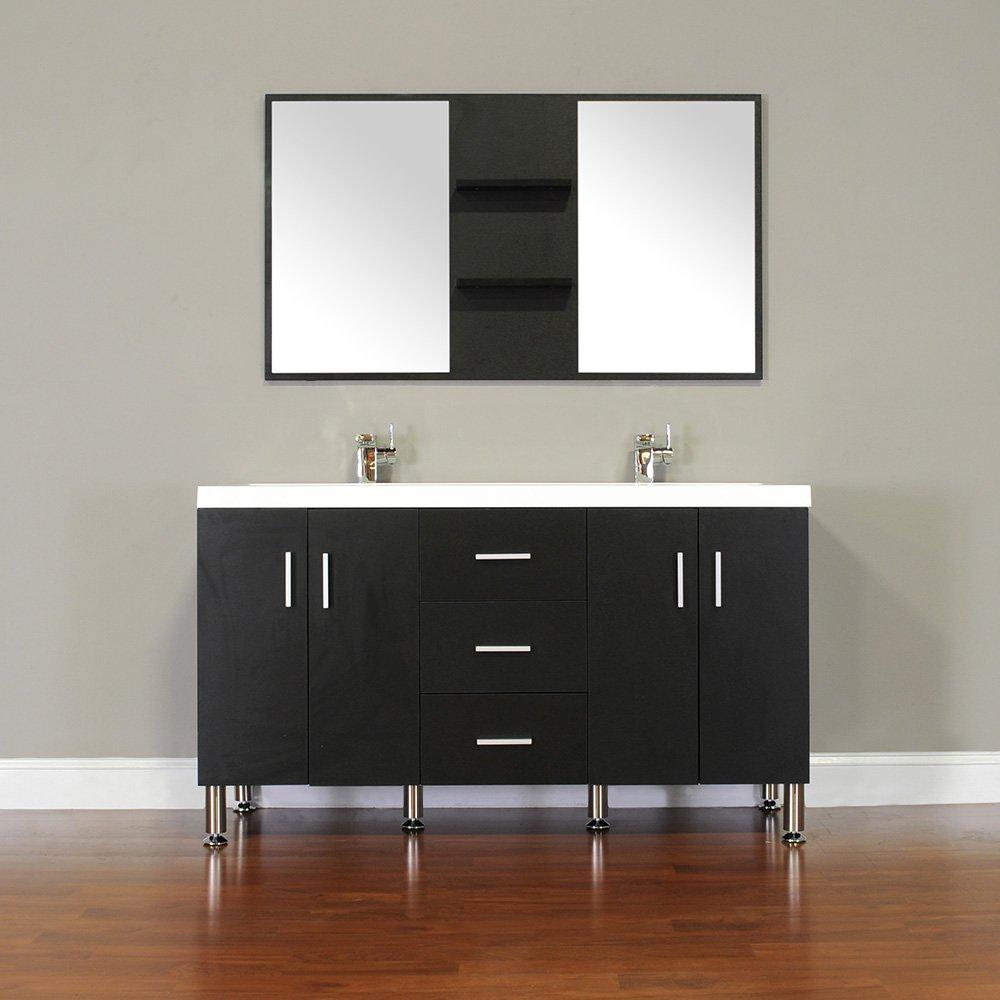 Bathroom cabinet black - Alya Bath At 8043 B 56 Double Bathroom Vanity With Mirror In Black Amazon Com