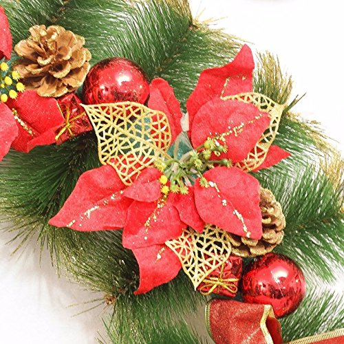 Christmas Garland for Stairs fireplaces Christmas Garland Decoration Xmas Festive Wreath Garland with Christmas wreath with 60CM red Christmas wreath
