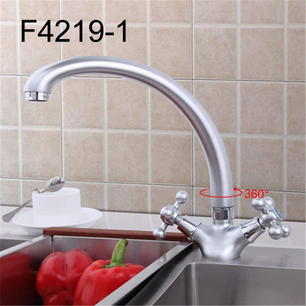 Cwill Küchenarmatur Doppelgriffe gemäßchte Wasserplattform Chrom F4219 \u0026 Matte F4219-1, F4219-1
