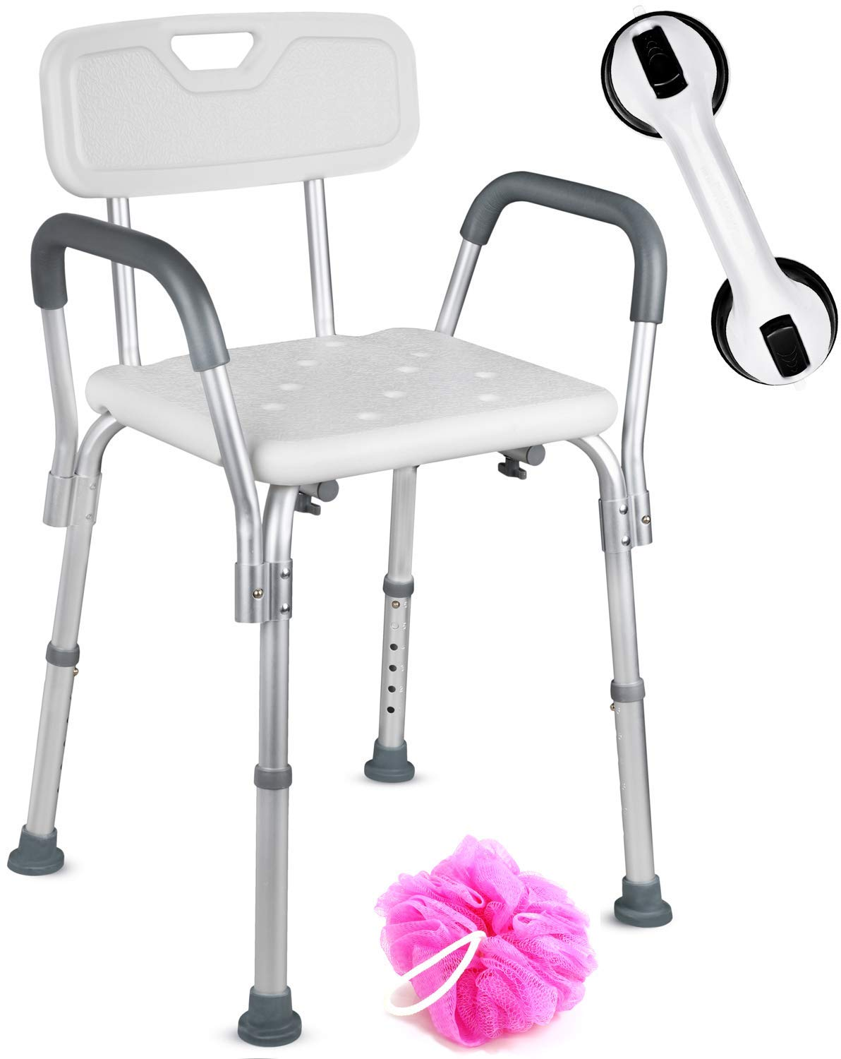 Dr. Maya Adjustable Shower Chair with Back and Arms - Free Suction Assist Grab Bar - Anti-Slip Bench - Bathtub Seat for Bathroom Safety