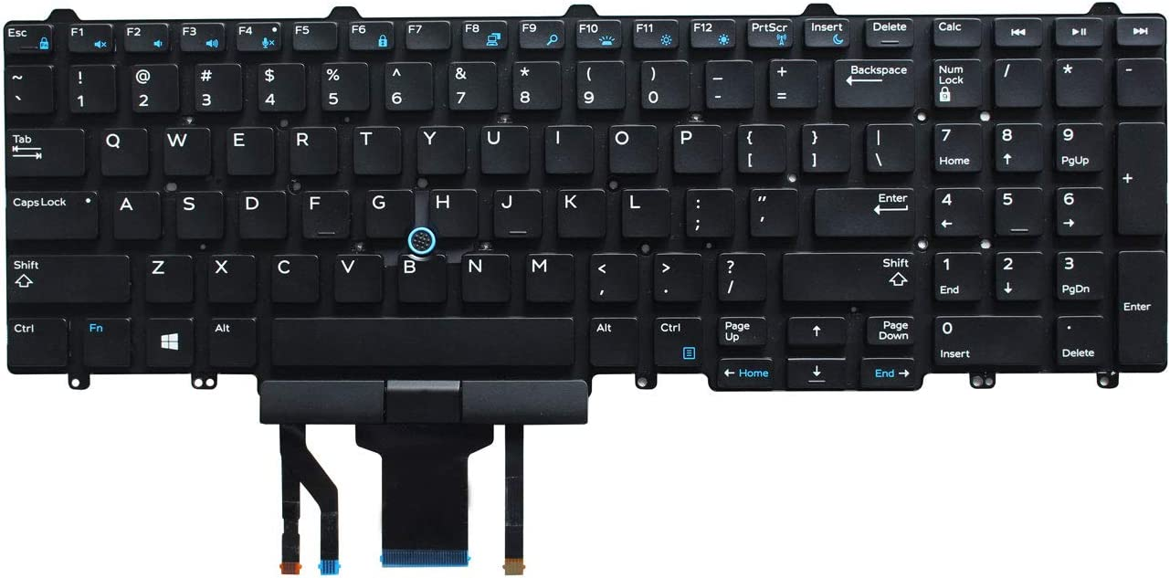 AUTENS Replacement US Keyboard for Dell Latitude E5550 E5570 5550 5580 5590 5591 / Precision 3510 3520 7510 7520 7710 7720 Laptop with Pointer No Frame (Backlight)
