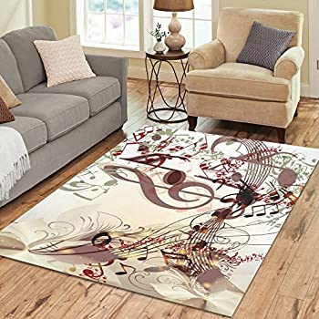 Amazon Com Interestprint Colorful Music Note Area Rugs