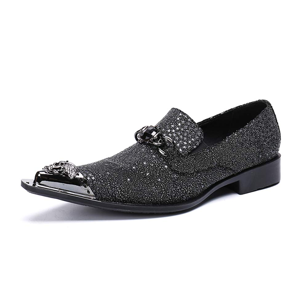 Black Men's Leather shoes Western Cowboy Oxford Chelsea Metal Pointed Toe Slip On Dress Wedding Evening Loafers Black