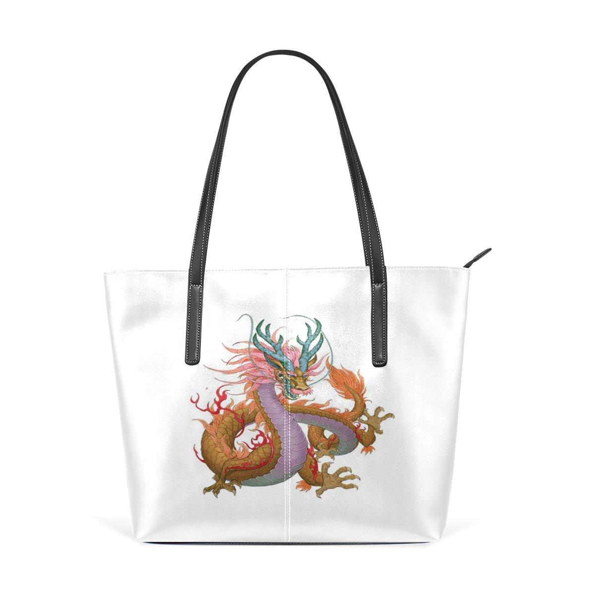 Women Leather Handbags Colorful Dragon Top Handle Shoulder Bags