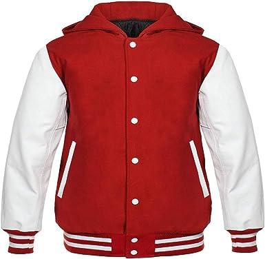 Varsity Jacket Letterman Baseball Red wool and Genuine White Leather Sleeves