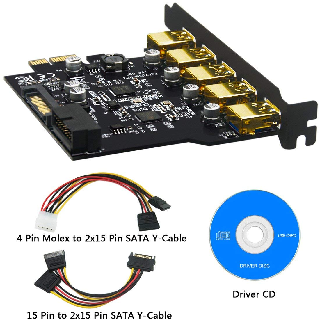 BEYIMEI PCI-E a USB 3.0 Tarjeta de expansión PCI Express de 5 Puertos y Conector de alimentación de 15 Pines, Conector Interno de 20 Pines - Amplíe ...