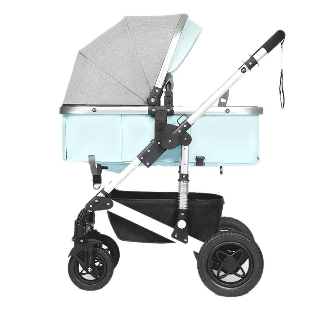 Peacefre 赤ちゃんのベビーカー、折りたたみ軽量ショックアブソーバの子供は、赤ちゃんのキャリッジ高炭素鋼フレーム幼児トロリー座ったり、嘘をプッシュ (色 : 青)  青 B07RYX65FQ