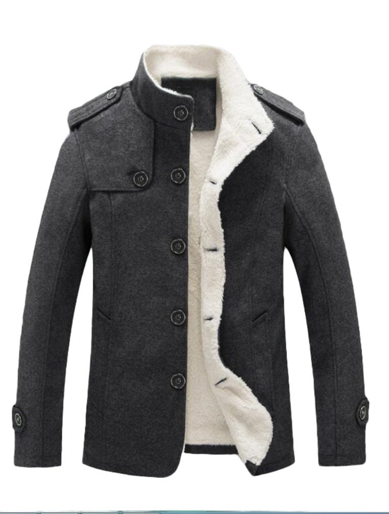 Vogstyle Men's Cotton Blend Jacket Casual Stand Collar Single Breasted Trench Overcoat L